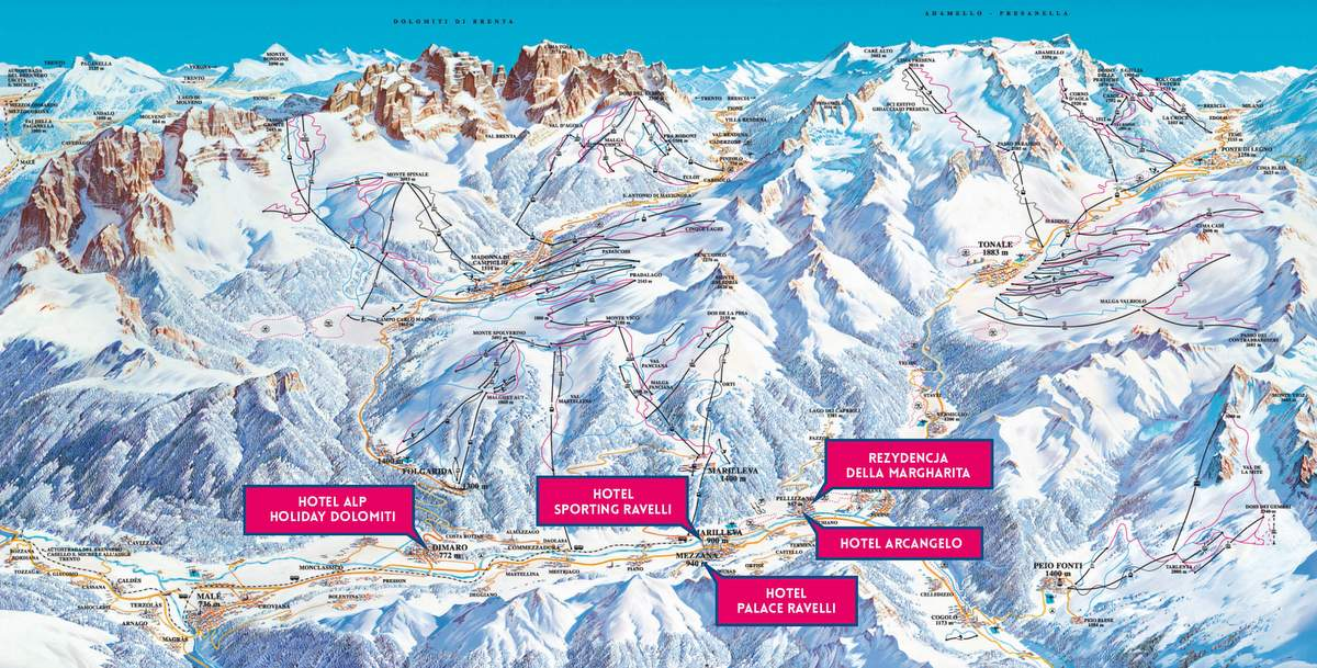 Mapa tras narciarskich Val di Sole