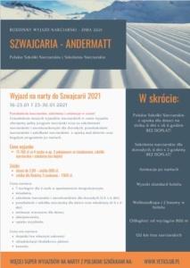 wyjazd na narty do Szwajcarii oferta w pdf